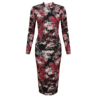 View Item Red Tie Dye Polo Neck Midi Dress